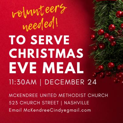 Volunteers needed, Christmas Eve Meal